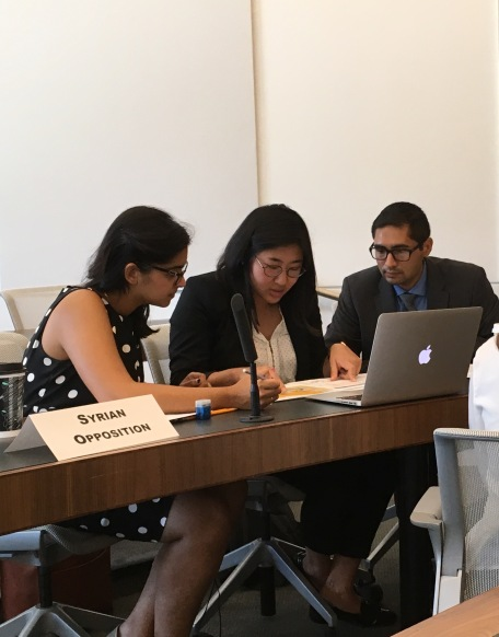 These Research Associates represented the Syrian Opposition in a negotiation simulation.